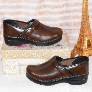 DANSKO Brown Work Comfort Slip On Clog Shoes Sz 38